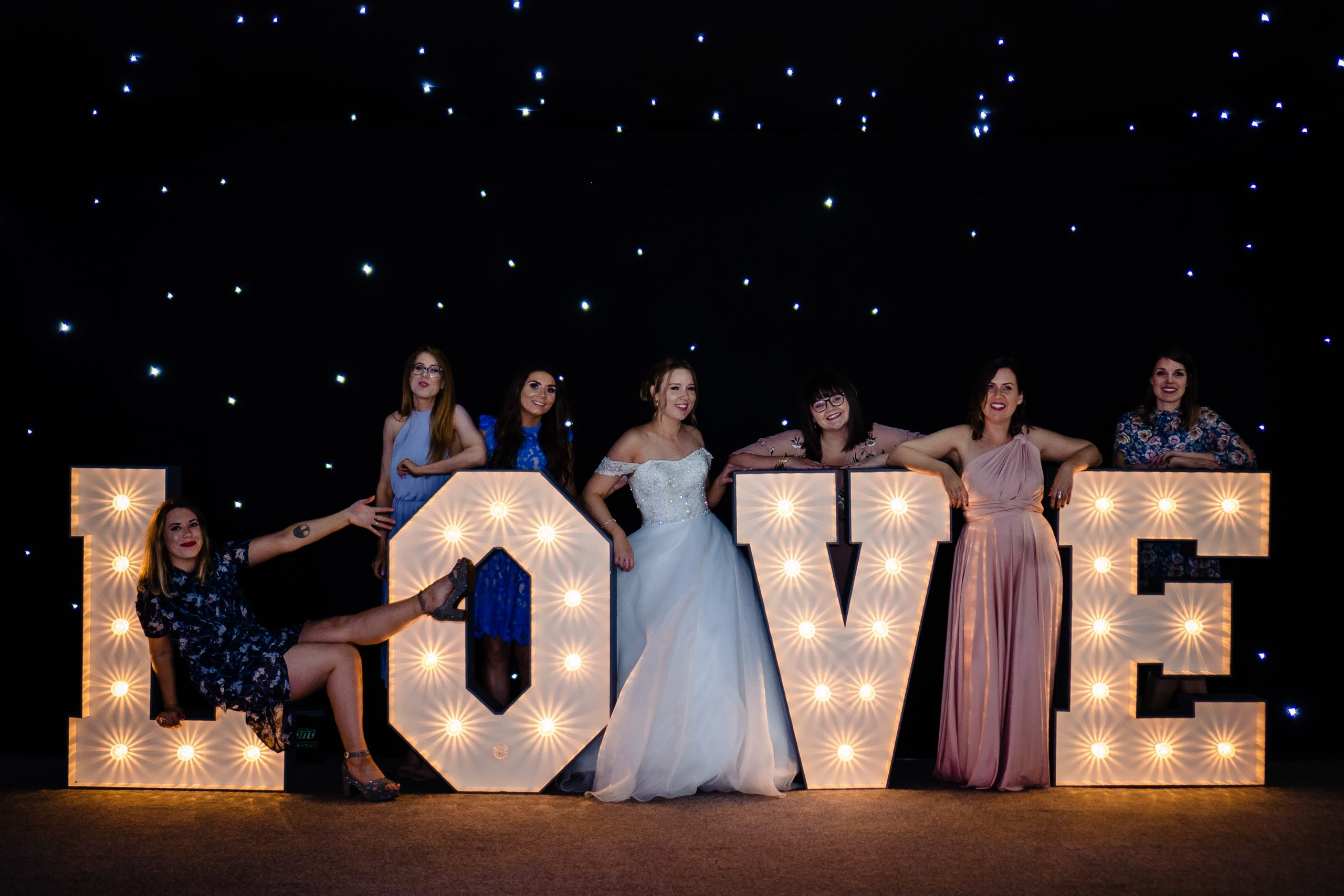Bridal party pictures in tipi