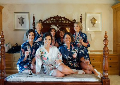 Bridal party sat in bridal suite