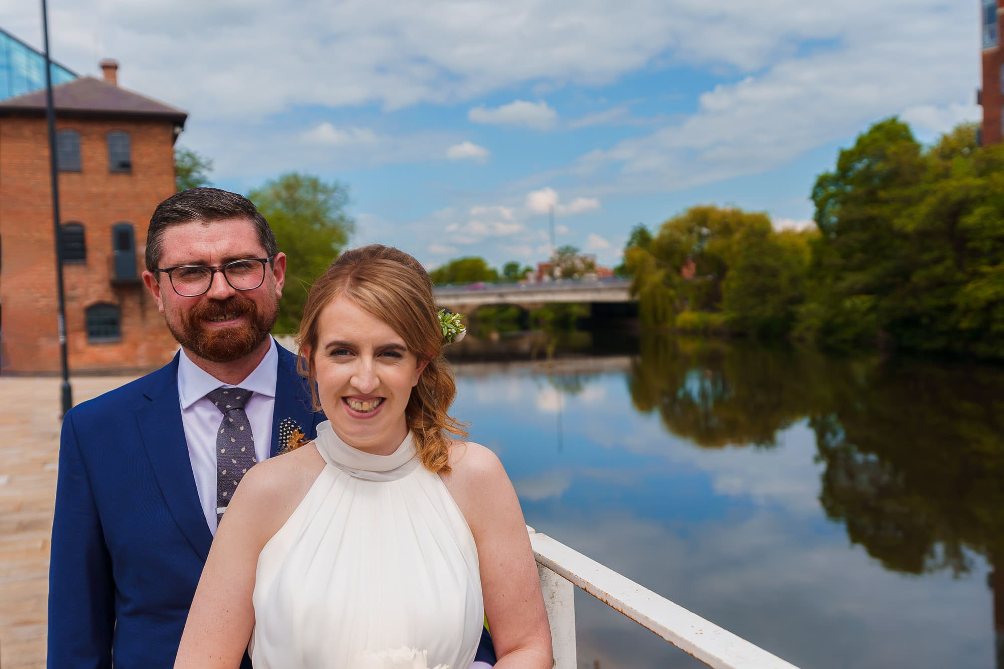 Bride and Groom at the River Gardens in Derby
