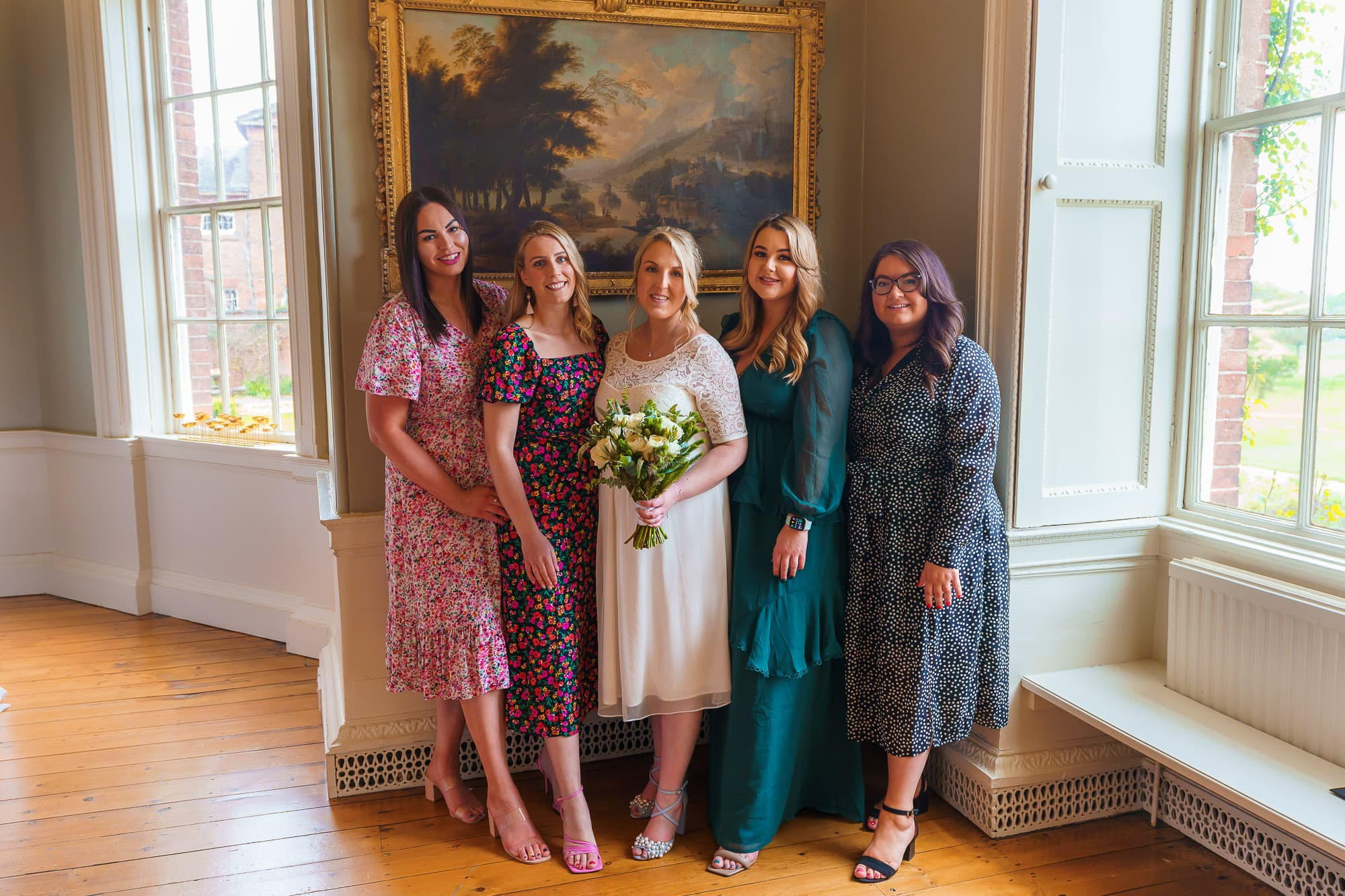 Bridal party on wedding day at Norwood Park