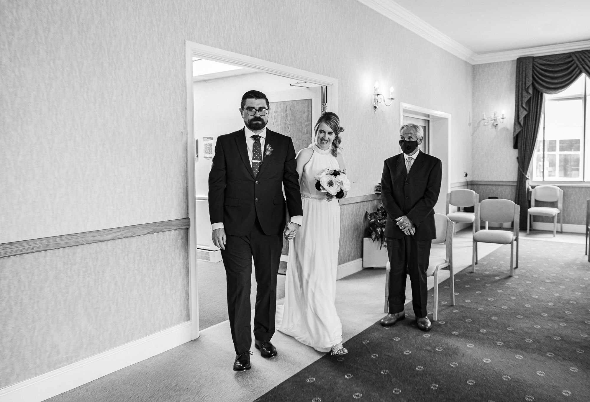 bride and groom at the Derby Registry office