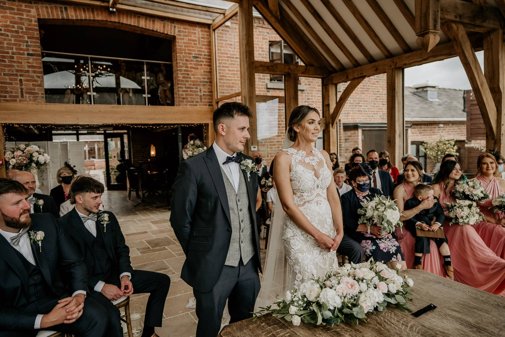 Bride and Groom getting married at Swancar Farm in Nottingham