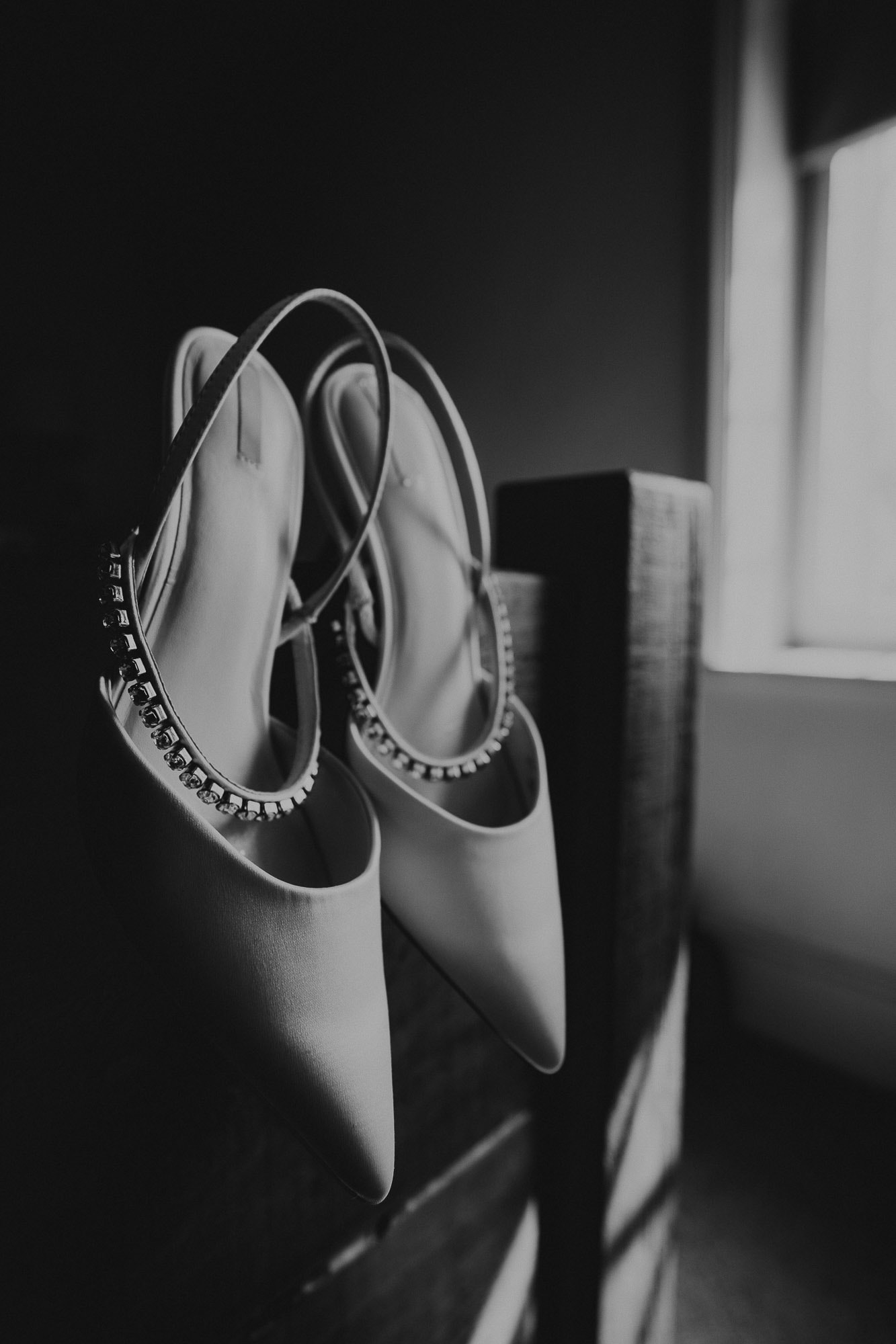 Brides Wedding Shoes on the morning of her wedding day
