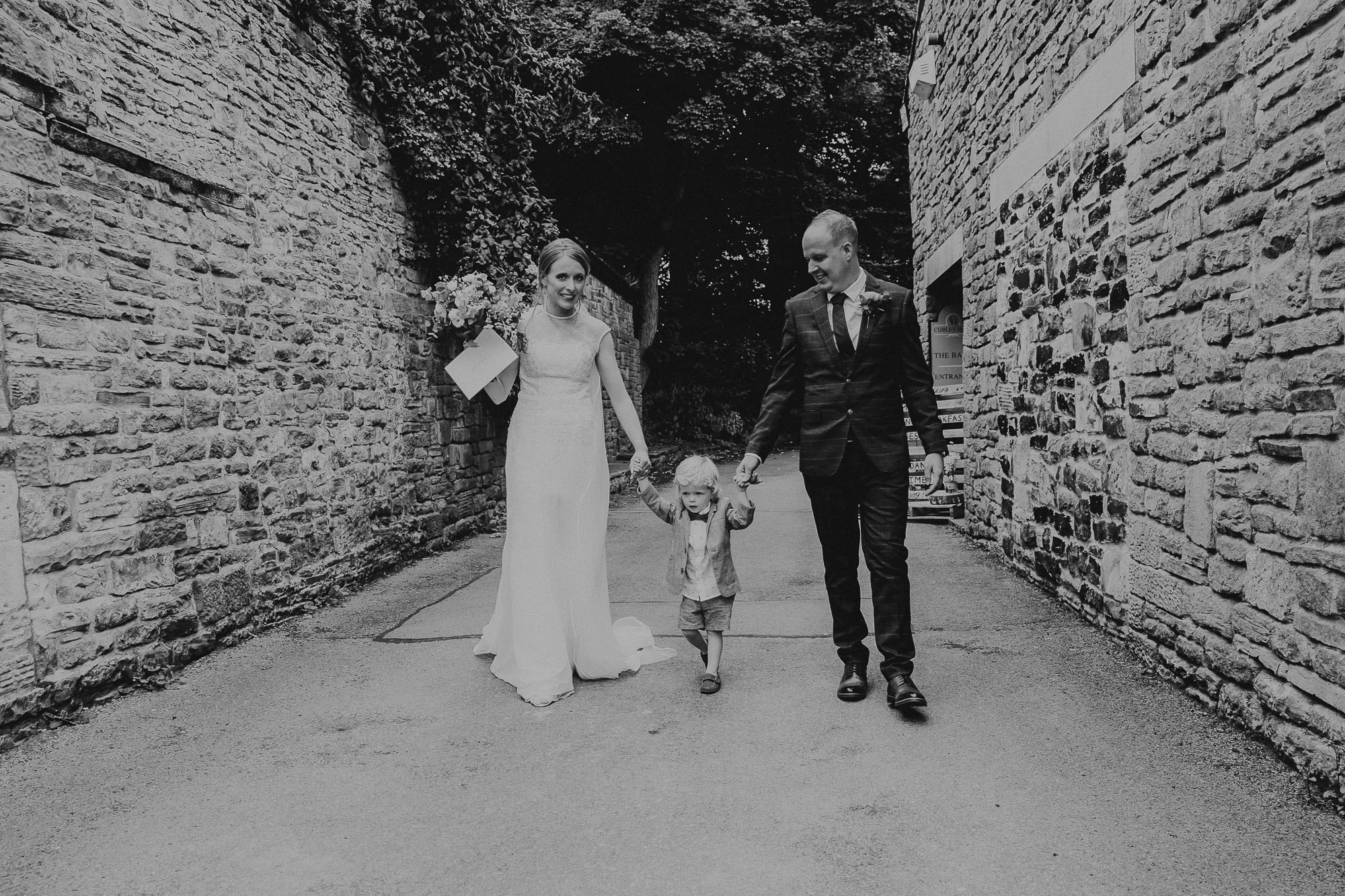 Bride and Groom with son at Cubley hall