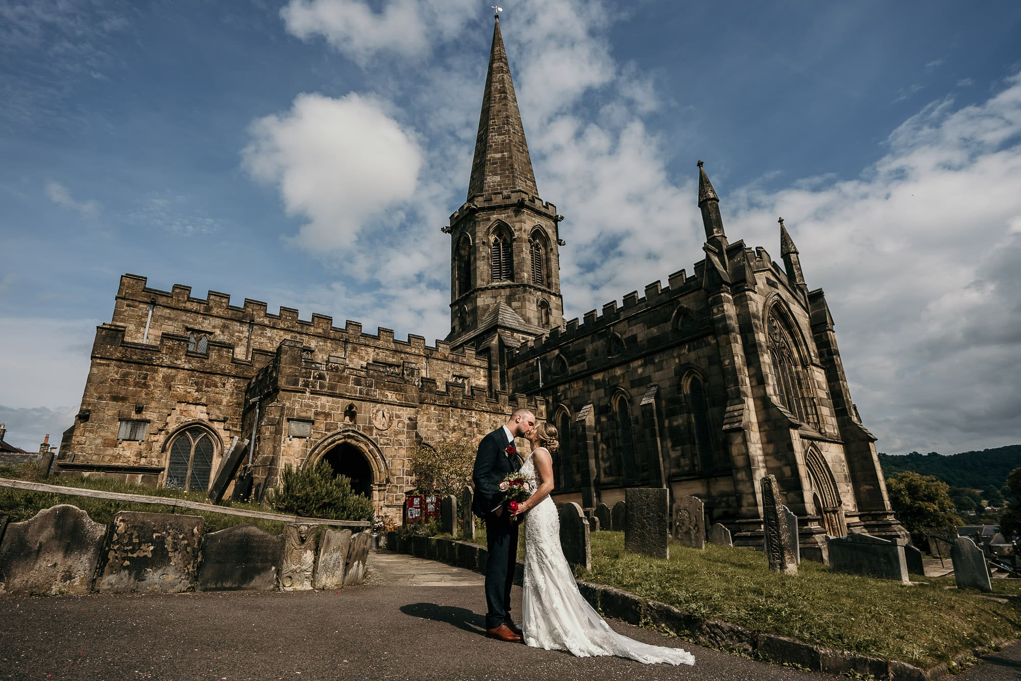 Church at Bakewell on wedding day