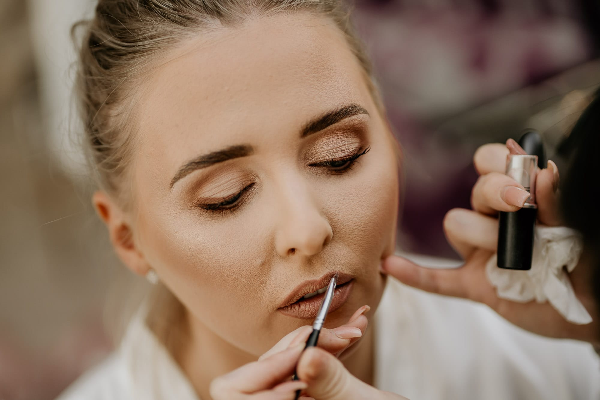 Bride having makeup completed in chesterfield