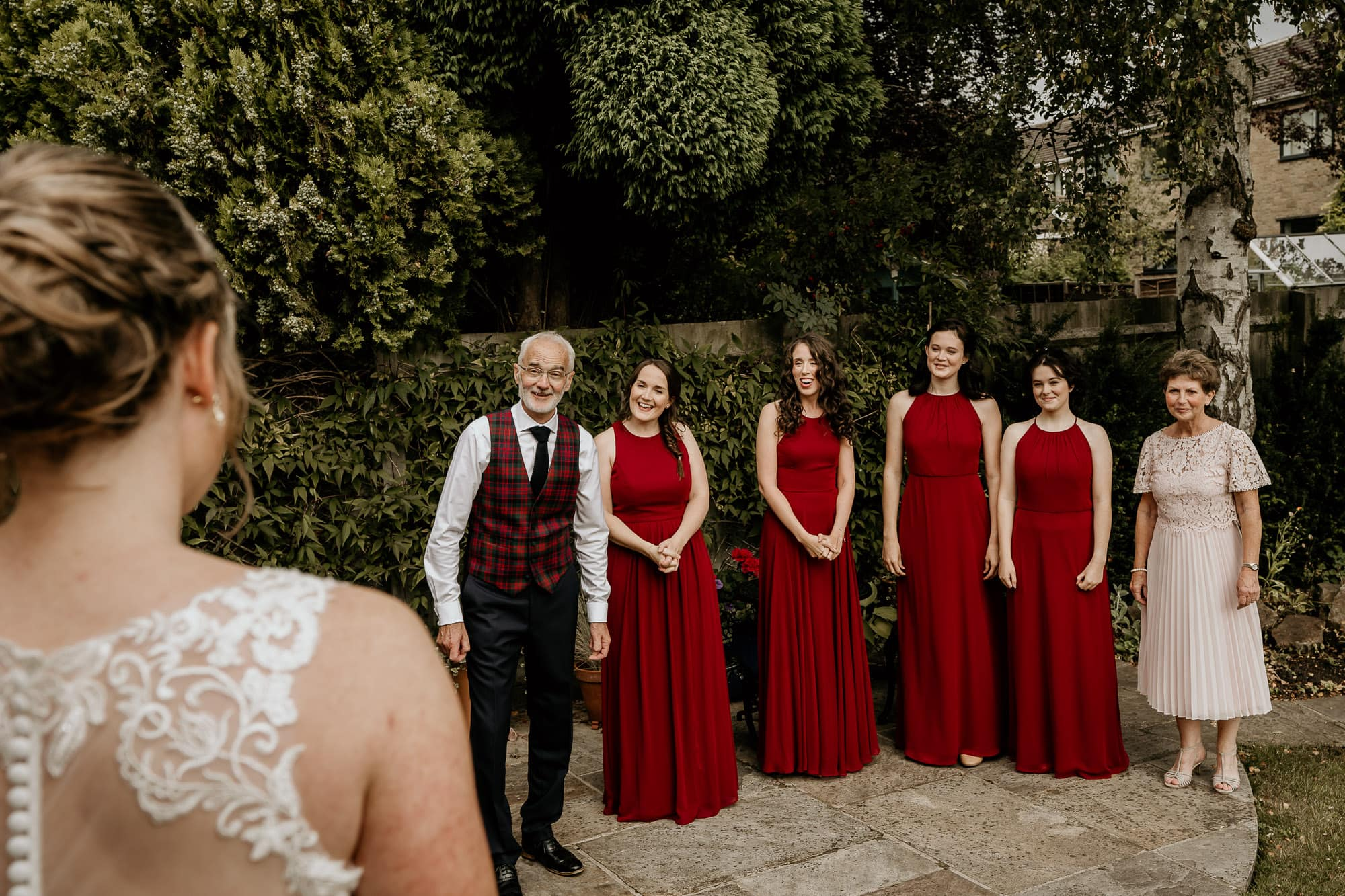 Bridesmaids with bride in Bakewell
