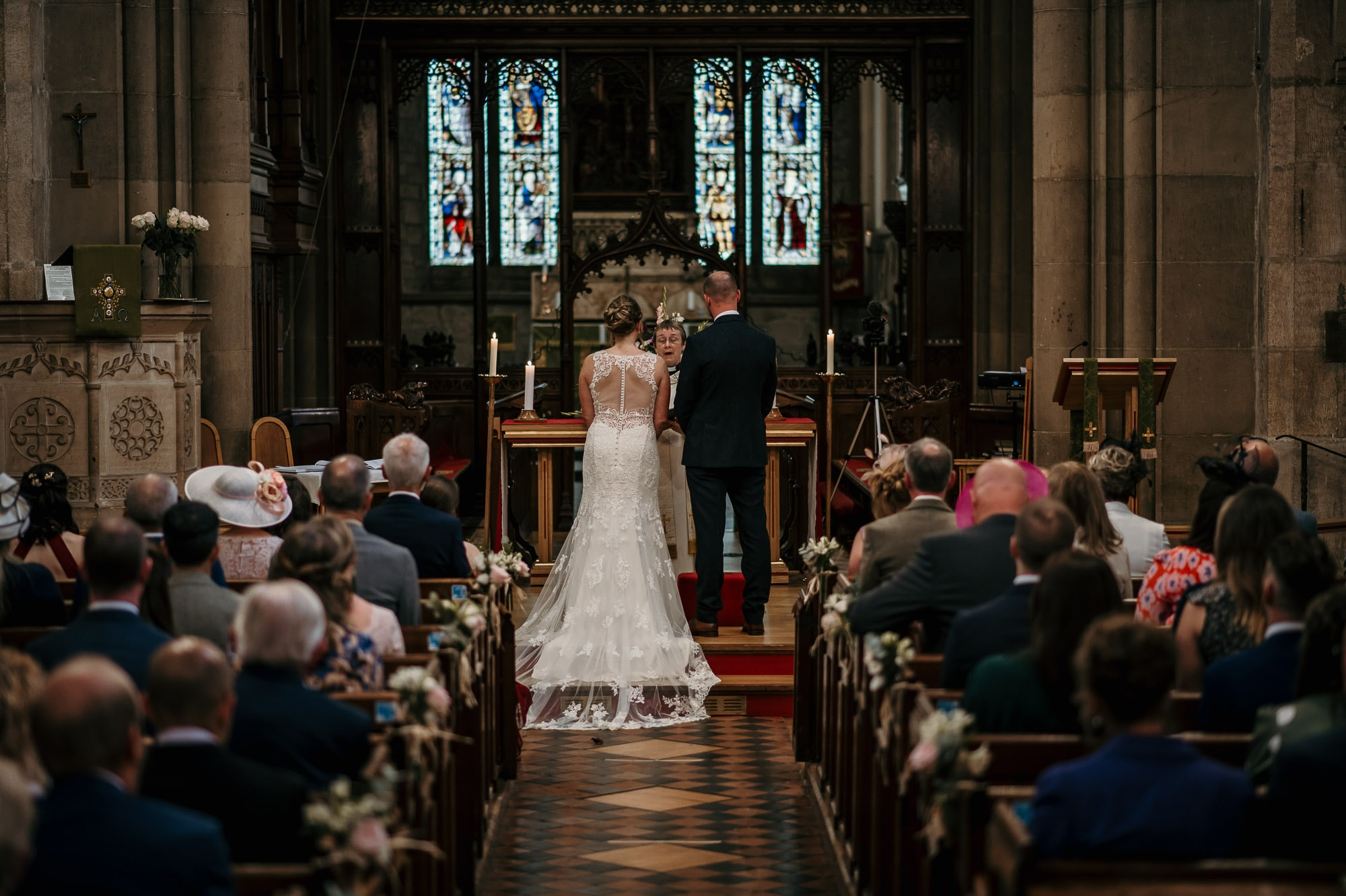 Bride and Groom in Church in Derbyshire